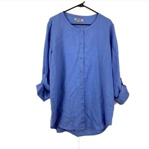 FLAX Linen Button Down Small Convertible Sleeves
